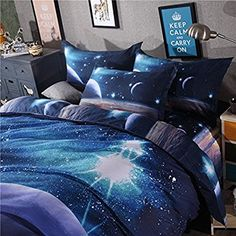 Amazon.com: MIFE TEXTILE 4PCs 100% Polyester Duvet Cover Sets, 3D Galaxy Printing Themed, Comfortable, Soft Bedding Set(one bed sheet,one duvet cover and 2 pillow cases) QUEEN Size.: Home & Kitchen