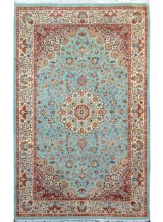 "Sky Blue Persian Isfahan Rug 5' 1"" x 8' 2"" (ft) - No. 14211 http://alrug.com/sky-blue-persian-isfahan-rug-5-1-x-8-2-ft-no-14211.html"