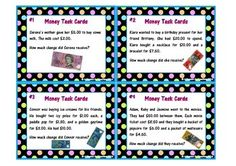 Print out and laminate these Money Task Cards for your classroom!! This pack includes 32 Australian Money Task Cards. It will help your students calculate change, add money amounts together and identify the different notes and coins that make up different money amounts.