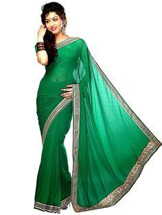 Prepossessing green color Georgette saree. Item Code: SVM7064