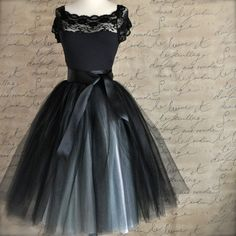 Black and silver tulle tutu skirt for women--A Night at the Ballet.. $185.00, via Etsy.