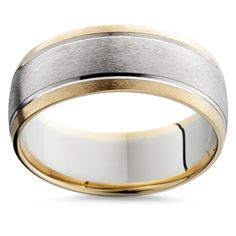 Mens Gold 8mm Two Tone Comfort Fit Wedding Band Ring. This classic mens two tone wedding band features a brushed white gold center and brightly polished yellow gold edges. The inside edge is rounded to give your finger more comfort during normal wear.