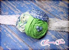 Mint Periwinkle Flower Headband Cornflower Blue by CrowningPetals