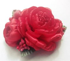 Large Red Hair Flower, Satin Hair Rose, Red Headpiece, Scarlet Flower Pin, Red Wedding Hair Flower  You can wear this barrette as a brooch thanks to