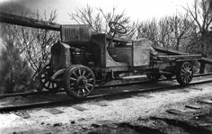 Gotchy shot this image of a 1918 GMC Model ¾-ton wooden flare-board express bodied truck back on March 1941 atop Echo Mountain. Rail Car, Old Trains, Snow Plow, Station Wagon, Model Trains, Locomotive, Cannon, Antique Cars, Trucks