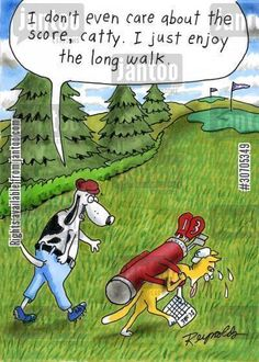'I don't even care about the score, catty. I just enjoy the long walk.'    #golf #golfer #golfers #sport #cartoon