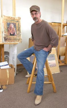 Artist Steve Hanks, who died Tuesday April 21 2015, is pictured here in his Albuquerque studio ~ Photo by...Dean Hanson/Albuquerque Journal©