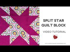 Split star quilt block - video tutorial - YouTube Star Quilt Patterns, Star Quilts, Pattern Blocks, Quilting Templates, Quilting Tutorials, Sewing Tutorials, Quilting Ideas, Sewing Projects, Quilt Blocks Easy