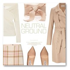 """""""Neutral City"""" by chiclookdujour ❤ liked on Polyvore featuring Miss Selfridge, MARC CAIN, Jimmy Choo, Oscar de la Renta, bows, neutrals and nude"""