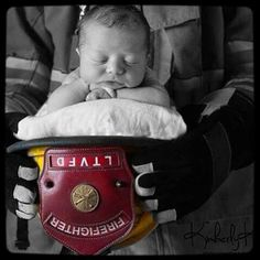 Firefightin' n stuff. Firefighter Apparel, Firefighter Workout, Firefighter Training, Firefighter Family, Newborn Pics, Newborn Pictures, Baby Pictures, Baby Photos, Cute Kids Pics