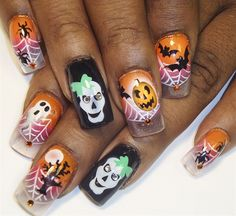 halloween on clear tips by Pilar - Nail Art Gallery nailartgallery.nailsmag.com by Nails Magazine www.nailsmag.com #nailart