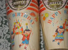 Vintage children's birthday party cups by Dixie Cup, 1950's - 1960's.