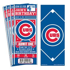 12 Chicago Cubs Custom Birthday Party Ticket Invitations - Officially Licensed by MLB