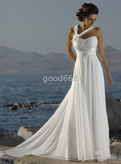 Wholesale - Custom Best-Selling Train Chiffon One-Shoulder Beach Wedding Dresses A-Line Empire Bridal Gowns 1081, Free shipping, $98.10-138.00/Piece, 1 piece/Lot   DHgate.com