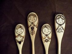 If you love Russian Dolls, then this (set of 4) wooden spoons would be a perfect addition to your kitchen! I wood burn these adorable Russian