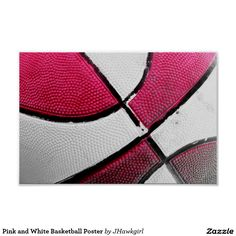 Pink and White Basketball Poster by Amy Steeples.  Available on Zazzle.