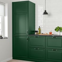 BODBYN Door, dark green, BODBYN door has a frame and a bevelled panel that give it a distinct, traditional character. Soft dark green brings a cozy, warm touch to your kitchen. Dark Green Kitchen, Green Kitchen Cabinets, Ikea Kitchen, Kitchen Colors, Kitchen Furniture, Kitchen Interior, Kitchen Decor, Kitchen Design, Kitchen Canisters