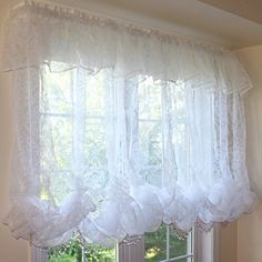 White Chic Baroque Balloon Curtain /Attached Valance Purple Beaded Fringe