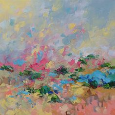 Landscape Painting Original Art Abstract or Impressionist Fauve Surreal Acrylic on Canvas by Linda Monfort
