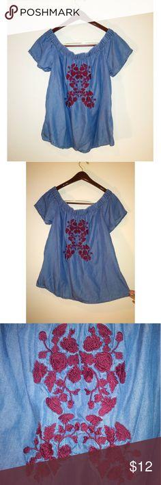 edb4fcfa7 Blue Rain Embroidered Off The Shoulder Top Blue Rain embroidered off the  shoulder top. Perfect