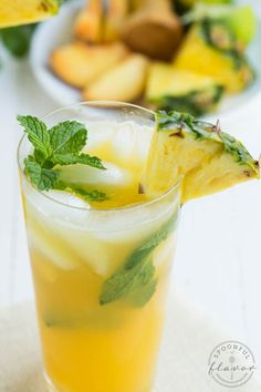 Pineapple Peach Mojito made with fresh ingredients is a refreshing drink or cocktail!