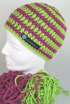 ...nicht nur pink - auch grün - klasse Mütze von DaiSign  http://de.dawanda.com/product/43161706-MeiKapp-Muetze---MaerzHerz-rosa-gruen-gestreift