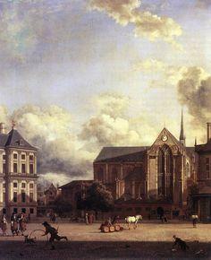 Dam , Amsterdam - Jan van der Heyden,  c. 1668 -  Oil on canvas,  Historisch Museum, Amsterdam