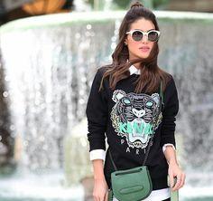 16a56d5d3a Green KENZO sweatshirt with classic distressed jean cutoffs ...