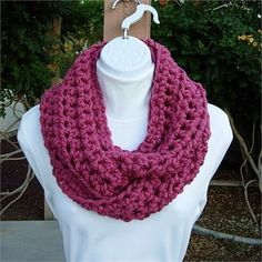 Raspberry Dark Solid Pink INFINITY COWL LOOP SCARF, 62 x 5   Soft, Warm, and Thick Infinity Scarf hand-crocheted with a high quality acrylic/wool blend yarn. Even though the yarn is categorized as Super Bulky, its very lightweight.    Since this yarn has such a thick strand, it makes fun  beautiful jumbo-size stitches.   The color is called Raspberry, a soft, medium purplish pink. Wool-Ease yarn is matte (no sheen).   Yarn Content: 80% Acrylic/20% Lambs Wool  Yarn Brand: Lion Brand…