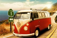 VW bus camper in Californië Print bij AllPosters.nl