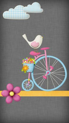 Phone Wallpaper - little bird rides a unicycle Flowery Wallpaper, Heart Wallpaper, Butterfly Wallpaper, Love Wallpaper, Cellphone Wallpaper, Wallpaper Quotes, Wallpaper Backgrounds, Iphone Wallpaper, Birthday Background Wallpaper