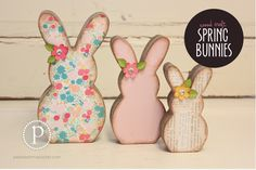 Spring Bunnies Wood Craft Kit and unfinished wood pieces are sold at pebblesinmypocket.com. Group buys are available too!