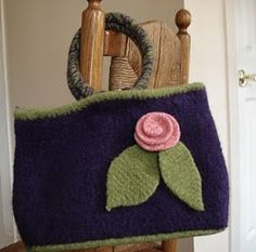 The minimal counting and shaping in this tote bag knitting pattern makes this a fun and easy project. Felting smooths away any imperfections and the felted flower is a nice finishing touch.