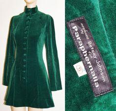 Vtg 60s 70s Paraphernalia Betsey Johnson Velvet Mini Dress Button Mod Go-Go Edie #Paraphernalia