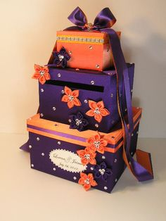 Purple and Orange Wedding  Card Box Gift Card Box by bwithustudio, $118.00