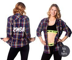Zumba® Crazy Happy Flannel  - Peacoat - S M L #Zumba #ShirtsTops