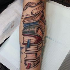 book stack tattoo - Google Search