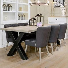 Hoxton Industrial Cross Leg Oak Dining Table with upholstered dining chairs