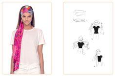 Ce nouage «Bandeau» est réalisable avec un Maxi-Twilly et un carré 140x140 cm. Jouez avec votre carré Hermès avec l'application Silk Knots! #Hermes #Silk #SilkKnots