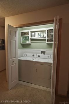Basement Laundry Room Decorations Ideas And Tips 2018 Small laundry room ideas Laundry room decor Laundry room makeover Farmhouse laundry room Laundry room cabinets Laundry room storage Box Rack Home Small Laundry Rooms, Laundry Room Design, Laundry In Bathroom, Laundry Hamper, Laundry In Kitchen, Closet Laundry Rooms, Small Basement Kitchen, Laundry Cupboard, Hidden Laundry