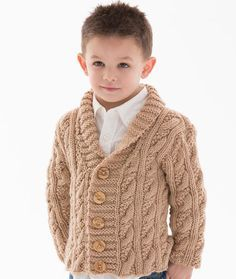 Little Man Cable Cardigan - Classic cables and an on-trend shawl collar are combined for a sweater that keeps a kid warm and totally comfortable. It's knit in washable yarn and includes how to place buttonholes on either side. Plus this yarn has been tested and certified free from harmful levels of over 300 substances.