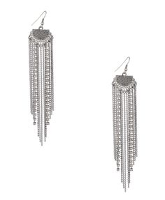 Sparkle fringe silver earrings