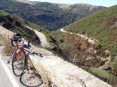 Enjoying the view & looking forward to the downhill at O'Cebreiro on the Camino de Santiago  #bike #travel #Spain