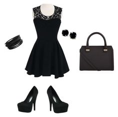 """""""all black"""" by lcardboard ❤ liked on Polyvore featuring Victoria Beckham, Pieces and B. Brilliant"""