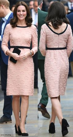 hrhduchesskate: Charities Forum Engagement, Paddington Station, London, October 16, 2017-The Duchess of Cambridge wore an Orla Kiely Raised Flower Fitted Dress in peach and black, accessorized with Tod's Suede Pumps, black Mulberry clutch, Cartier Ballon Bleu watch, and Kiki McDonough Morganite earrings