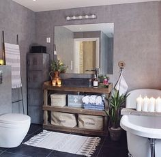 Baderom Stone Bathroom, White Bathroom, Black Shower, Wood Stone, First Apartment, Bathroom Inspiration, Decoration, Vanity, Mirror