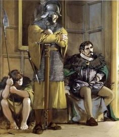 Irish Noble and his Galloglass and kern guards awaiting an audience in the court of Queen Elizabeth