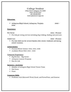 resume example for college