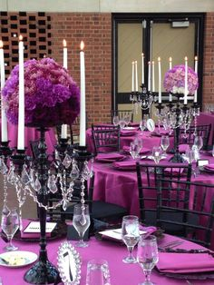 Glam wedding. RECREATE with our satin linens in magenta violet at www.cvlinens.com