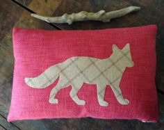 """Red Pillow Cover w Taupe Fox Applique 12"""" x 18"""" Eco Friendly Cushion Case by Sedula"""